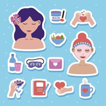 Twelve self care icons