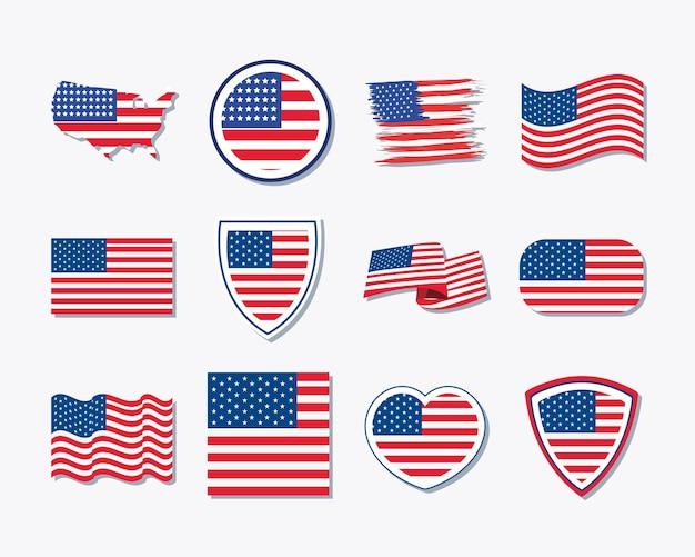 Twelve usa flag set icons