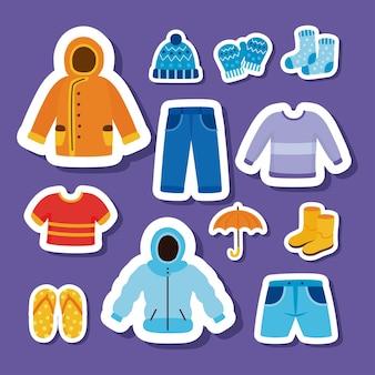 Twelve weather seasons clothes set icons