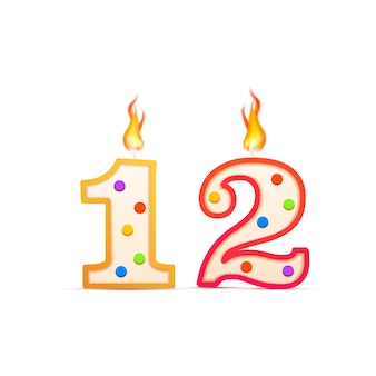 Twelve years anniversary, 12 number shaped birthday candle with fire on white