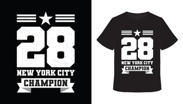 Двадцать восемь нью-йоркских чемпионов типографики дизайн футболки