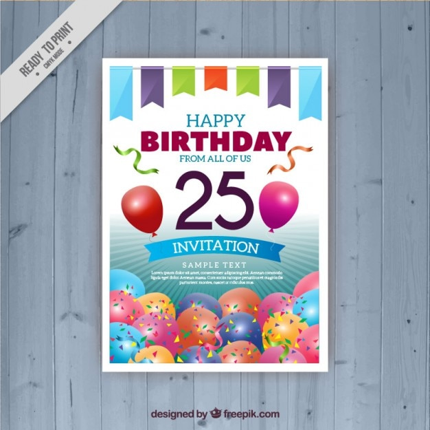 Twenty fifth birthday card