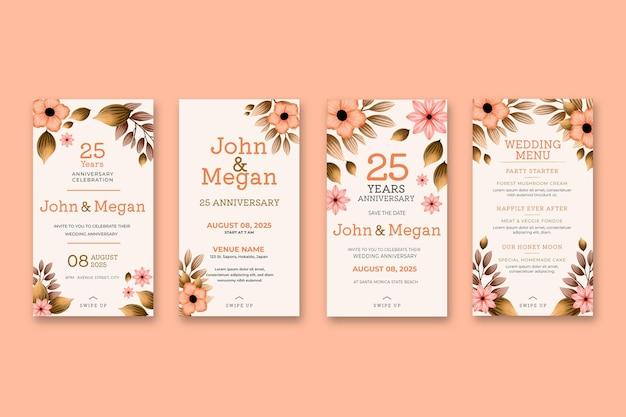 Коллекция историй о двадцать пятой годовщине свадьбы в instagram