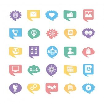 25 소셜 미디어 마케팅 설정 컬렉션 아이콘