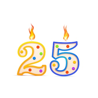 Twenty five years anniversary, 25 number shaped birthday candle with fire on white