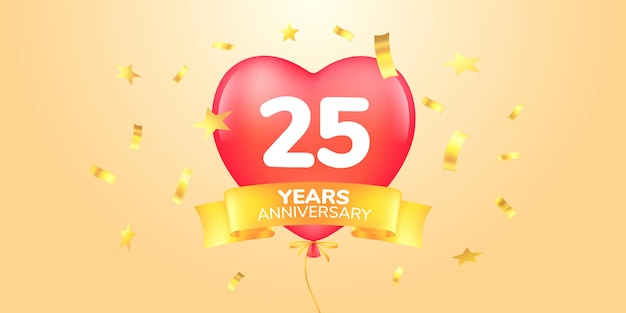Twenty five years anniversary celebration  banner with hot air balloons