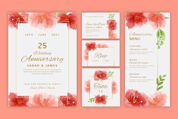 Twenty five years anniversary stationery collection