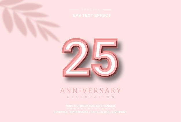 분홍색 배경에 25 주년 기념 텍스트 효과