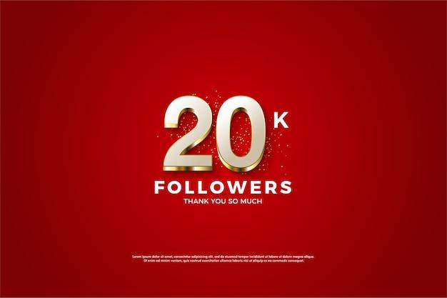 Twenty followers on a maroon background