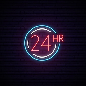 Twenty four hours neon sign.