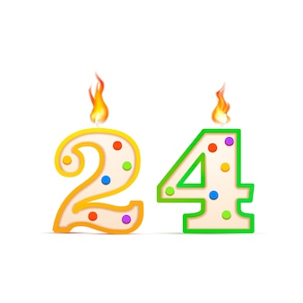 Twenty four years anniversary, 24 number shaped birthday candle with fire on white