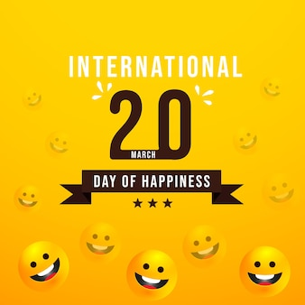 3 월 20 일, 국제 행복의 날 일러스트레이션