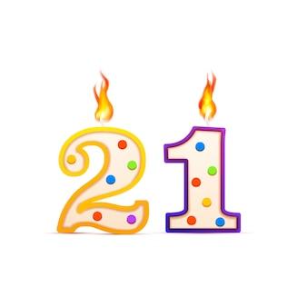 Двадцать один год, 21 день рождения свеча в форме дня рождения с огнем на белом