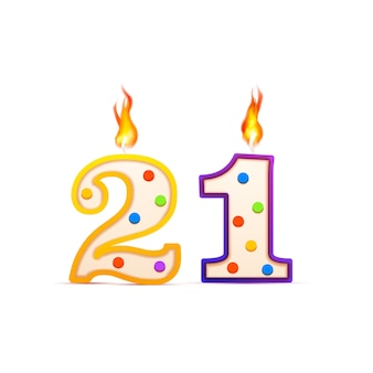 Twenty one years anniversary, 21 number shaped birthday candle with fire on white