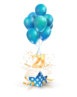 Twenty one years celebrations greetings of twenty first anniversary isolated   design elements. open textured gift box with numbers and flying on balloons