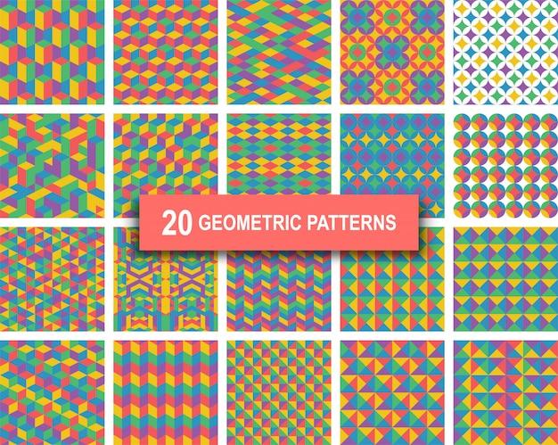 Twenty pastel color geometric patterns background
