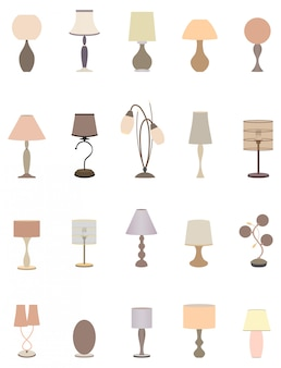 Twenty pastel colors elegant lamps collection for interior design.