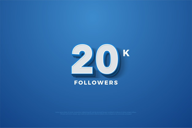 Twenty thousand followers celebration with white number and blue line on the number