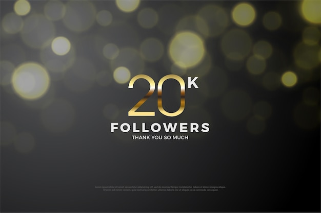 Twenty thousand followers with golden numbers and a special background