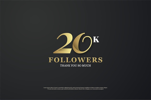 Twenty thousand followers with a golden threedimensional figure and black background