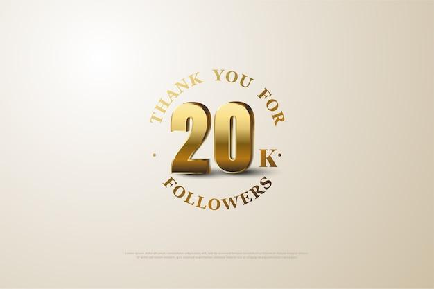 Twenty thousand followers with a golden threedimensional figure