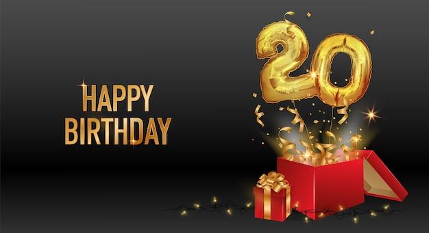 Двадцать лет со дня рождения. номер 20 из красной коробки с конфетти вылетает летающий воздушный шар из фольги. вечеринка в честь дня рождения.