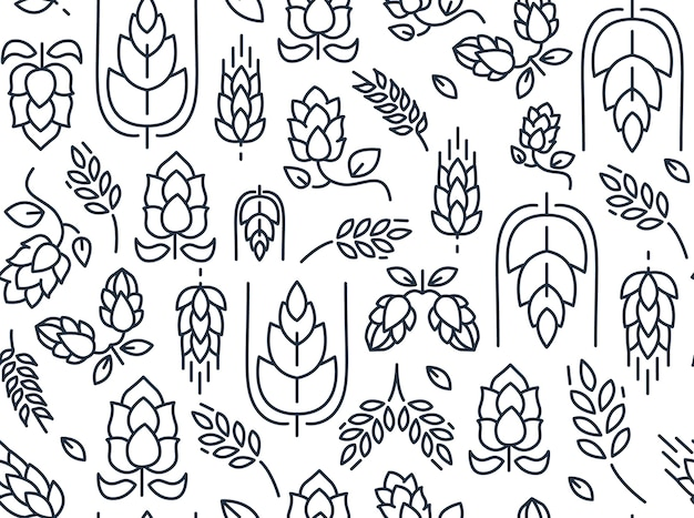 Twigs hop seamless pattern with repeating images of malt and leaves hand drawing on the white