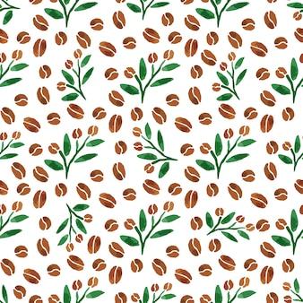 커피 잔가지. 잎 커피 분기와 수채화 원활한 패턴
