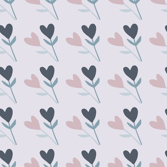 Twigs with heart flower seamless doodle pattern. light blue background and pastel navy blue and pink elements.