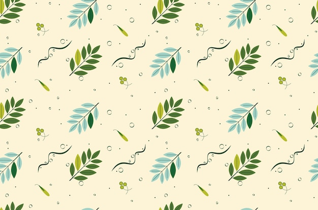 葉のシームレスなパターンを持つ小枝。