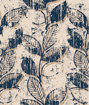 Twigs with leaves vintage pattern . grunge style