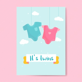 Twin babies reveal card