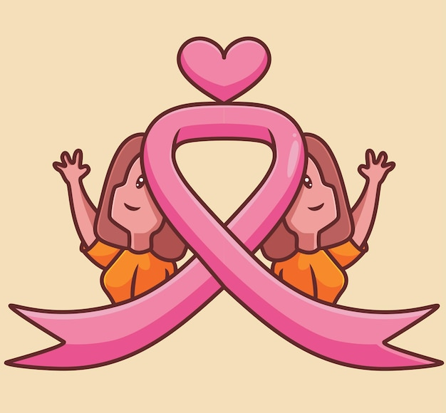 双子の乳がんの女性ピンクテープ漫画女性がんの概念孤立したイラストフラットスタイル