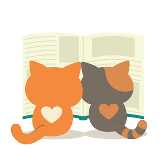 A twin cat reading a big book. a cute character of cat with a book.
