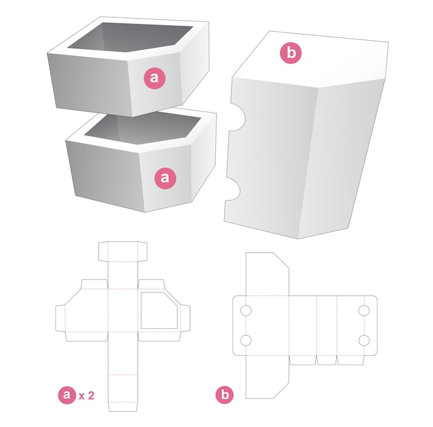 Twin chamfered corner box with cover die cut template