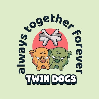 Twin dog illustration vintage character for t-shirt