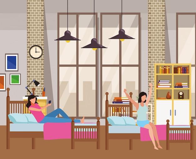 Twin dormitory faceless women