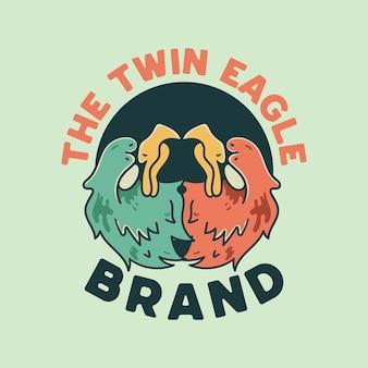 Illustrazione di twin eagle in stile retrò per t-shirt