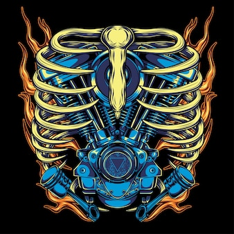 Twin engine skull flaming, for t-shirt