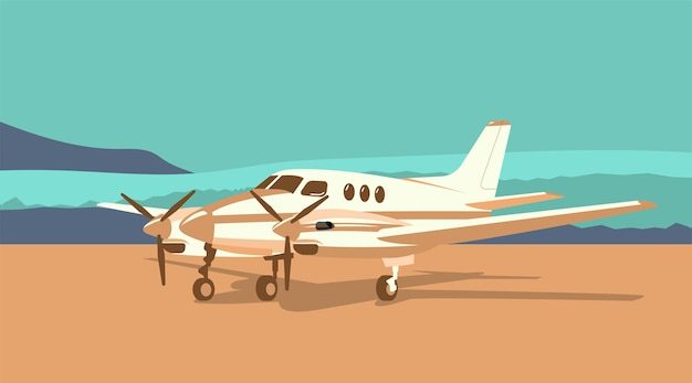 抽象的な風景の背景にツインエンジンターボプロップ飛行機。ベクトルイラスト。