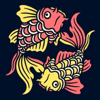 Twin goldfish old school tattoo illustration