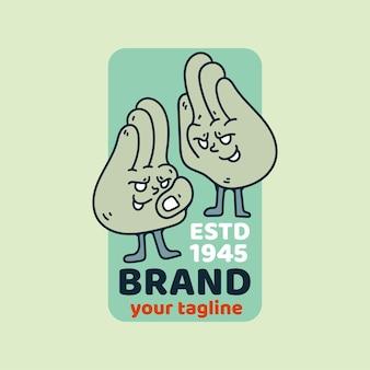 Design retrò vintage dell'illustrazione del personaggio della mano gemella