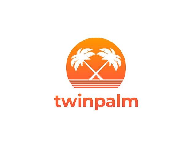 Twin palm tree logo illustration