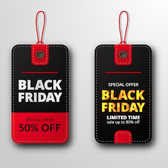 Twin pricetag label price discount label for black friday sale offer template for clothing fashion