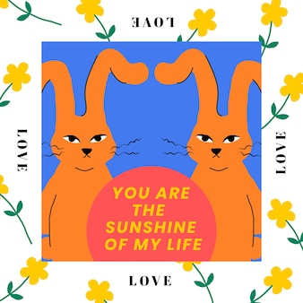 Twin rabbit editable template  you are the sunshine of my life