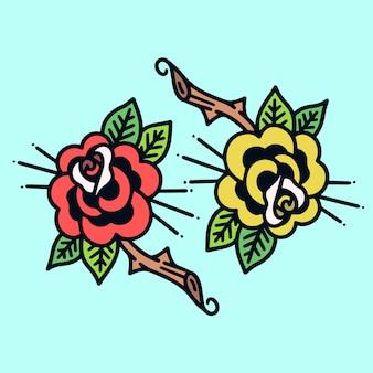 Twin roses old school tattoo illustration