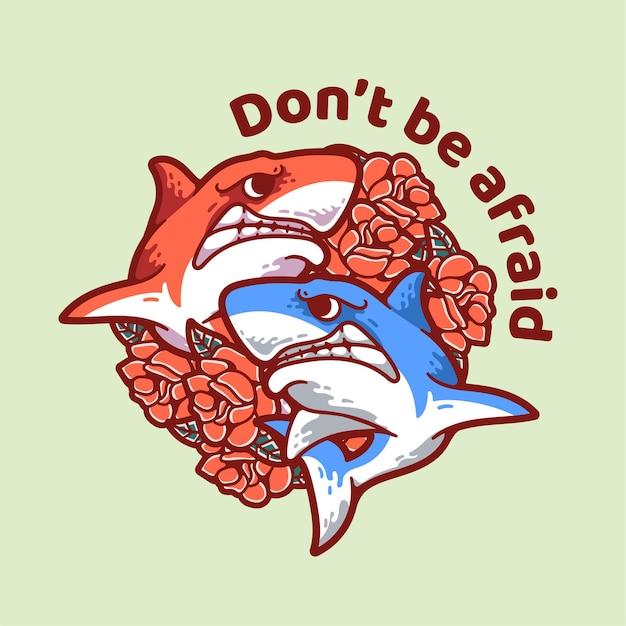 장미 일러스트와 함께 쌍둥이 상어 현대 빈티지 디자인 캐릭터