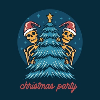 Twin skull in christmas party