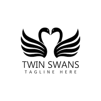 Twin swans logo template design vector in isolated background