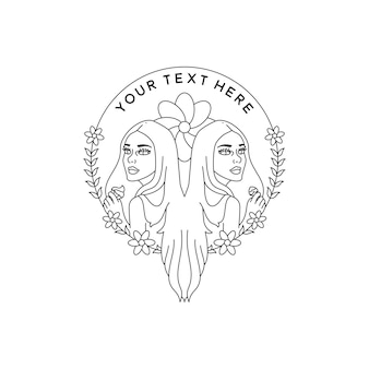 Twin teen girl with sweets and floral flower line art drawing monoline badge